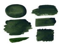 Αφηρημένα πράσινα υπόβαθρο Watercolor και σύνολο σημείων Στοκ Φωτογραφίες