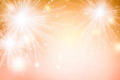 Αφηρημένα πυροτεχνήματα στο χρυσό υπόβαθρο Ταπετσαρία φεστιβάλ εορτασμού διανυσματική απεικόνιση