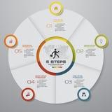 Αφηρημένα 5 στοιχεία infographics διαγραμμάτων πιτών βημάτων επίσης corel σύρετε το διάνυσμα απεικόνισης διανυσματική απεικόνιση