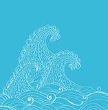 αφηρημένα συρμένα ανασκόπηση κύματα χεριών διανυσματική απεικόνιση