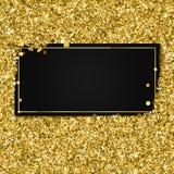 Αφηρημένα σύγχρονα διανυσματικά χρυσά πρότυπα εμβλημάτων, λαμπρό μαύρο υπόβαθρο πολυτέλειας με τα χρυσά στοιχεία ελεύθερη απεικόνιση δικαιώματος