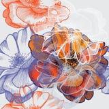 αφηρημένα τριαντάφυλλα εκταρίου ανασκόπησης floral άνευ ραφής Στοκ Φωτογραφίες
