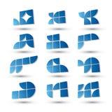 Αφηρημένα τρισδιάστατα απλά σύμβολα καθορισμένα, γεωμετρικά διανυσματικά αφηρημένα εικονίδια Στοκ Εικόνα