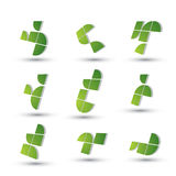 Αφηρημένα τρισδιάστατα γεωμετρικά απλοϊκά σύμβολα καθορισμένα, διάνυσμα Στοκ Φωτογραφία
