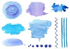 Αφηρημένα υπόβαθρα Watercolor για το σχέδιο στο μπλε στοκ εικόνες με δικαίωμα ελεύθερης χρήσης