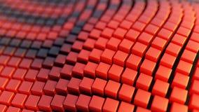 Αφηρημένα υπόβαθρο απεικόνισης, που διπλώνονται, κυματιστός, κόκκινος και μαύρα κουτιά, τρισδιάστατη απόδοση απεικόνιση αποθεμάτων