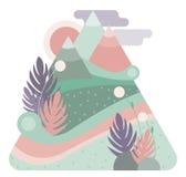 Αφηρημένα υψηλά βουνά Χρώμα κρητιδογραφιών Επίπεδη απεικόνιση σχεδίου Στοκ Εικόνες