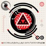 Αφηρημένα φουτουριστικά σύμβολα λογότυπων Techno αλλοδαπά Εικονίδια HUD καθορισμένα διανυσματική απεικόνιση