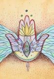 αφηρημένα φτερά χεριών hamsa ματιώ διανυσματική απεικόνιση