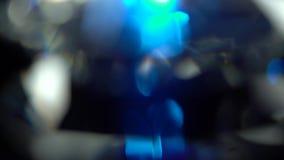 Αφηρημένα φω'τα στο άσπρο και μπλε υπόβαθρο Bokeh απόθεμα βίντεο