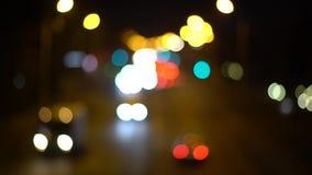 Αφηρημένα φω'τα του υποβάθρου φω'των και φωτεινών σηματοδοτών νύχτας bokeh απόθεμα βίντεο