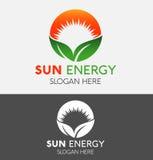Αφηρημένα φύλλο Eco φύσης πράσινα & λογότυπο ήλιων Στοκ εικόνα με δικαίωμα ελεύθερης χρήσης