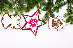 Αφηρημένα Χριστούγεννα και νέο υπόβαθρο έτους με το μελόψωμο Στοκ Εικόνες