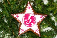 Αφηρημένα Χριστούγεννα και νέο υπόβαθρο έτους με το μελόψωμο Στοκ φωτογραφία με δικαίωμα ελεύθερης χρήσης