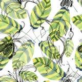 Αφηρημένα χρωματισμένα χέρι υπόβαθρα watercolor με τα όμορφα πράσινα φύλλα Στοκ Φωτογραφία