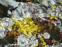 Αφηρημένα χρώματα, αργυροειδές κόκκινο χρυσό χρώμα watercolor κτυπημάτων βουρτσών Αφηρημένο υπόβαθρο χρωμάτων Watercolor Στοκ Φωτογραφία