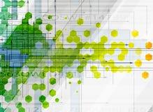 Αφηρημένα hexagon τεχνολογία χρώματος και υπόβαθρο πληροφοριών διανυσματική απεικόνιση