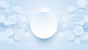 Αφηρημένα hexagons, ψηφιακό υπόβαθρο εικονιδίων τεχνολογίας γραμμών Στοκ Εικόνες