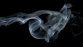 Αφηρημένες άσπρες μπλε αργές κινήσεις κυμάτων καπνού στο μαύρο υπόβαθρο απόθεμα βίντεο