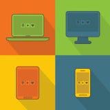 Αφηρημένες έξυπνες συσκευές που τίθενται στο διαστιγμένο υπόβαθρο απεικόνιση αποθεμάτων