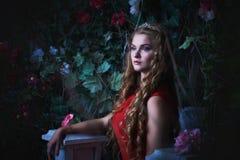 Αφηρημένες ανασκοπήσεις φαντασίας με το μαγικό βιβλίο Όμορφη πριγκήπισσα στην κόκκινη συνεδρίαση φορεμάτων σε έναν μυστικό κήπο Στοκ Εικόνες