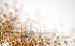 Αφηρημένες ανοικτό καφέ hexagon επιχείρηση και τεχνολογία σημείου backg Στοκ φωτογραφία με δικαίωμα ελεύθερης χρήσης