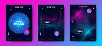 Αφηρημένες αφίσες μουσικής κυμάτων για το γεγονός χορού ελεύθερη απεικόνιση δικαιώματος