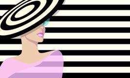 Αφηρημένες γυναίκες σκίτσων στο ριγωτό καπέλο Στοκ εικόνα με δικαίωμα ελεύθερης χρήσης