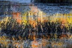 Αφηρημένες, ζωηρόχρωμες αντανακλάσεις στο νερό ενός έλους σε νέο Hampshir Στοκ Εικόνες