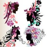 Αφηρημένες θηλυκές σκιαγραφίες προσώπου μόδας με το floral hairstyle Στοκ εικόνα με δικαίωμα ελεύθερης χρήσης
