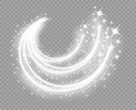 Αφηρημένες καμμένος γραμμές Χριστουγέννων με ένα τραίνο επάνω Μειωμένα μόρια σκόνης Μαγικός κομήτης πυράκτωσης Η επίδραση φωτισμο διανυσματική απεικόνιση