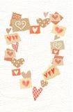 Αφηρημένες καρδιές που σύρονται στη μεγάλη καρδιά με τη θέση για το κείμενό σας Κολάζ των καρδιών Ευχετήρια κάρτα αγάπης διανυσματική απεικόνιση