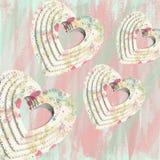 Αφηρημένες καρδιές Decoupage Στοκ Εικόνα