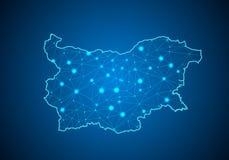 Αφηρημένες κλίμακες γραμμών και σημείου πολτοποίησης στο σκοτεινό υπόβαθρο με το χάρτη της Βουλγαρίας Στοκ φωτογραφία με δικαίωμα ελεύθερης χρήσης