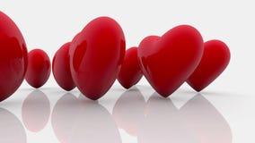 Αφηρημένες κόκκινες καρδιές σε ένα λευκό ελεύθερη απεικόνιση δικαιώματος