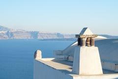 Αφηρημένες μορφές Oia στεγών του χωριού, Santorini, Ελλάδα Στοκ Φωτογραφίες