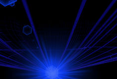 Αφηρημένες μπλε γραμμές με το μεγάλο μακροχρόνιο μπλε ελαφρύ έντονο φως Στοκ Εικόνες