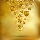 αφηρημένες πετώντας χρυσές καρδιές διανυσματική απεικόνιση