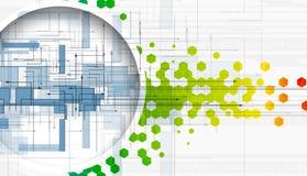 Αφηρημένες τεχνολογία και ανάπτυξη κύκλων χρώματος hexagon backgr απεικόνιση αποθεμάτων