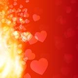 Αφηρημένες φλόγα και καρδιές υποβάθρου Στοκ Φωτογραφία