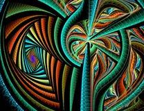 Αφηρημένες fractal ζωηρόχρωμες γραμμές στο μαύρο υπόβαθρο στοκ φωτογραφία με δικαίωμα ελεύθερης χρήσης