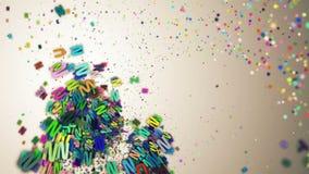 Αφηρημένες loopable ζωηρόχρωμες πετώντας επιστολές ελεύθερη απεικόνιση δικαιώματος