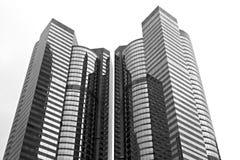 Αφηρημένη άποψη εικονικής παράστασης πόλης με τους σύγχρονους ουρανοξύστες Στοκ φωτογραφία με δικαίωμα ελεύθερης χρήσης