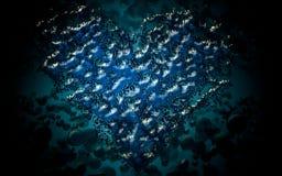 Αφηρημένη άσπρη μπλε ταπετσαρία νερού καρδιών bokeh Στοκ Εικόνα