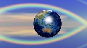 Αφηρημένη έννοια για τη γη και τη θρησκεία διανυσματική απεικόνιση