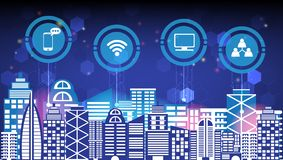 Αφηρημένη έξυπνη πόλη καινοτομίας τεχνολογίας και ασύρματη ζωή πόλεων νύχτας δικτύων επικοινωνίας κοινωνική ψηφιακή, Διαδίκτυο τω απεικόνιση αποθεμάτων