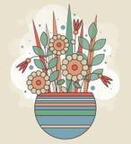 Αφηρημένη δέσμη άνοιξη των γεωμετρικών λουλουδιών σε ένα ριγωτό βάζο Ζωηρόχρωμο υπόβαθρο για τη ευχετήρια κάρτα, έμβλημα, τυπωμέν Στοκ φωτογραφίες με δικαίωμα ελεύθερης χρήσης