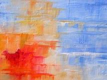 Αφηρημένη ακρυλική ζωγραφική στα μπλε και κόκκινα χρώματα στοκ φωτογραφία