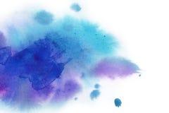 αφηρημένη ανασκόπηση Ο παφλασμός Watercolor έχει σύρει με το χέρι το μπλε, π Στοκ Φωτογραφία