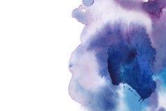αφηρημένη ανασκόπηση Ο παφλασμός Watercolor έχει σύρει με το χέρι το μπλε, π Στοκ Φωτογραφίες